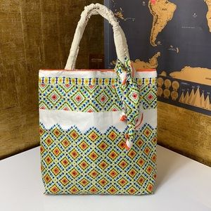 VINTAGE Print Hand Finished Petite Tote
